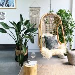 Rattan Hanging Chair With Shag Cushion Throw Pillows Medium Size Houseplants On Pots Tree Trunk Side Table Flat Woven Area Rug