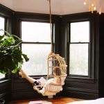Rattan Swinging Large Bay Window With Black Trims