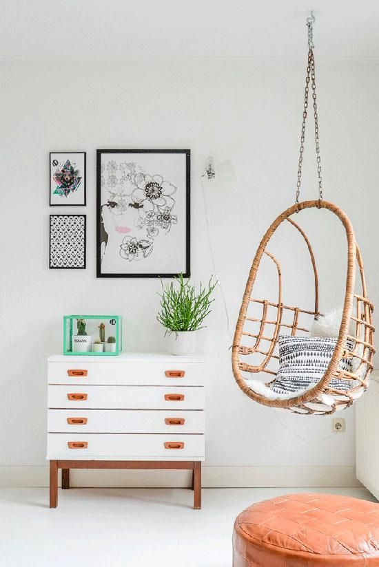 smaller hanging chair made from rattan minimalist drawer system in white black framed wall decors