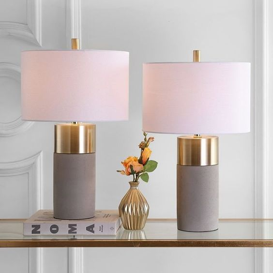 table lamps by Wayfair UK with gray gold stand and soft pink lampshade