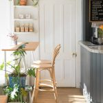 Wooden Home Minibar With High Profile Bar Table And Wooden Bar Stools With Back