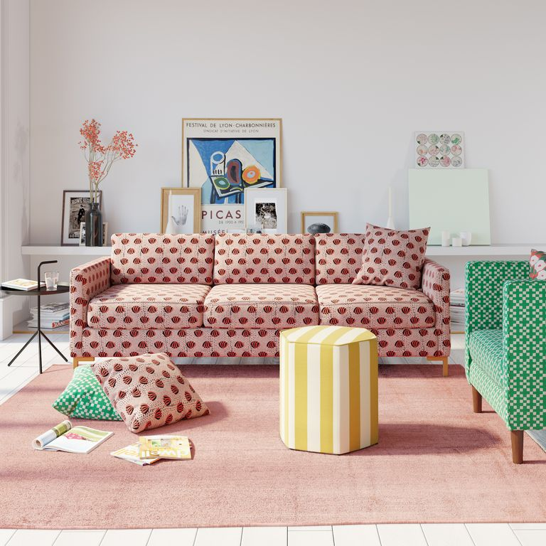 accent sofa in pink with red motifs stripe yellow white cofee table green chair