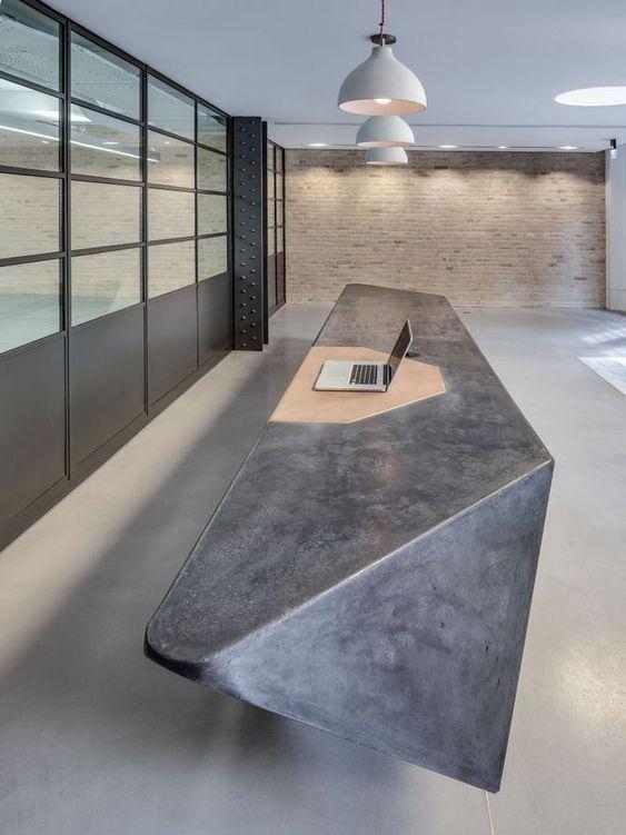 asymmetrical concrete working desk