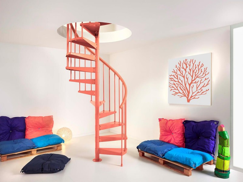 coral pink spiral staircase for kids' playground wood bench with colorful cushions