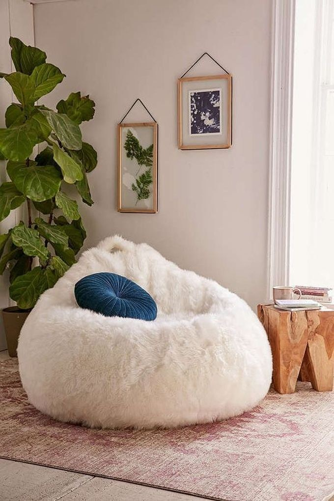 cotton candy like bean bag in white ivory schemed accent pillow