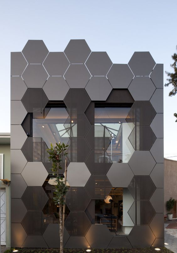 haxgon exterior walls in black with glass windows in the middle