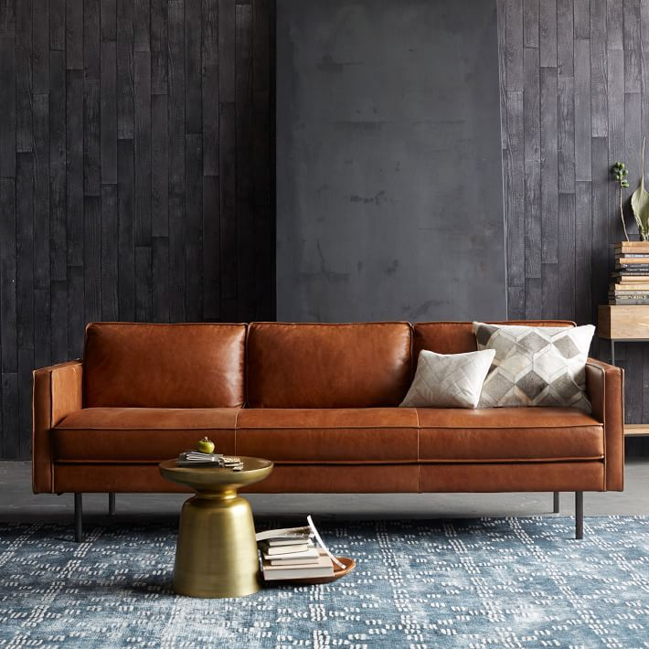 midcentury modern leather sofa with metal frame