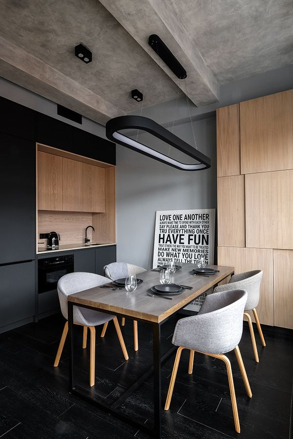 mini loft in modern industrial style modern dining furniture set minimalist kitchen set with wood kitchen cabinets