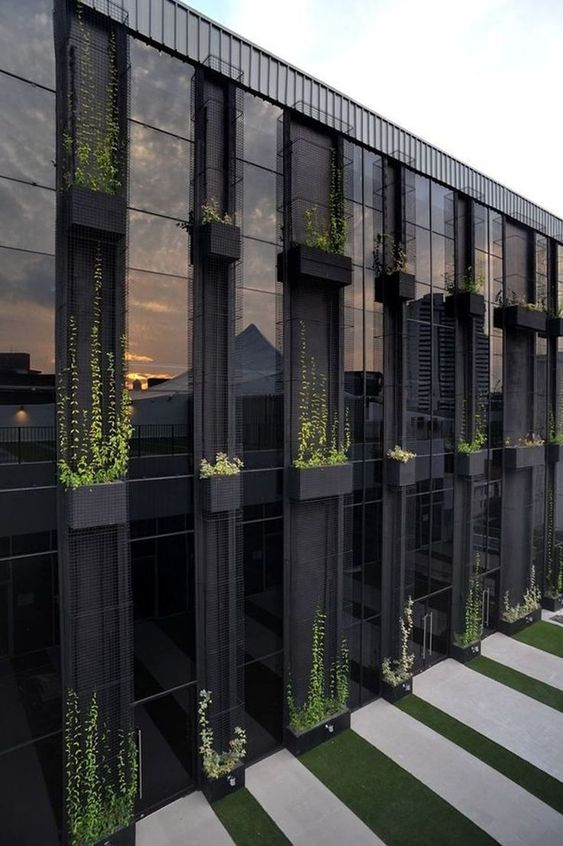 modern exterior facade with double height glass windows and vertical greenery accents