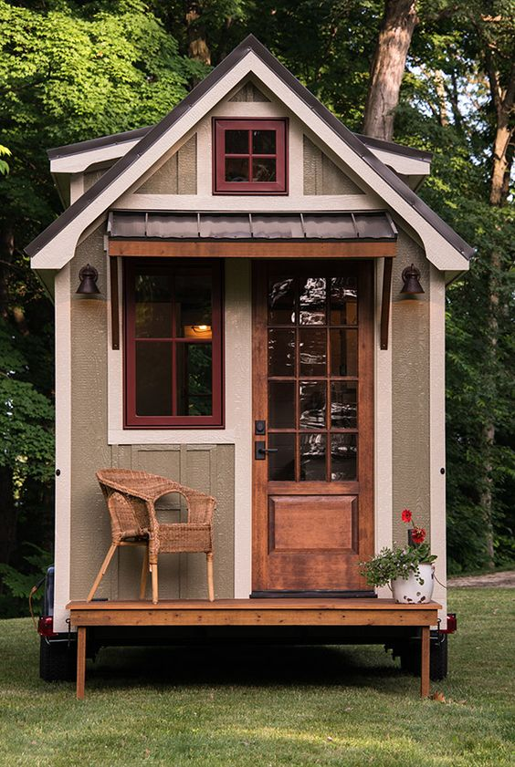 tiny cabin house built from reclaimed wood