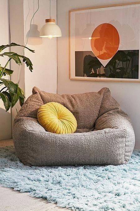 velvet bean bag in gray yellow accent pillow blue shag rug houseplant modenr pendant