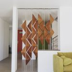 Artsy Room Divider With Geometric Wood Accents