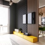 Black Brick Wood Partition Yellow Console Table