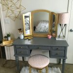 Blue Dressing Table With Gold Handles Three Side Mirrors With Gold Frames Gold Stool With Round Top