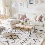 Bright And Airy Living Room With White Shag Area Rug With Modern Black Patterns Wood Plank Top Coffee Table With Hairpin Legs White Secotional Sofas