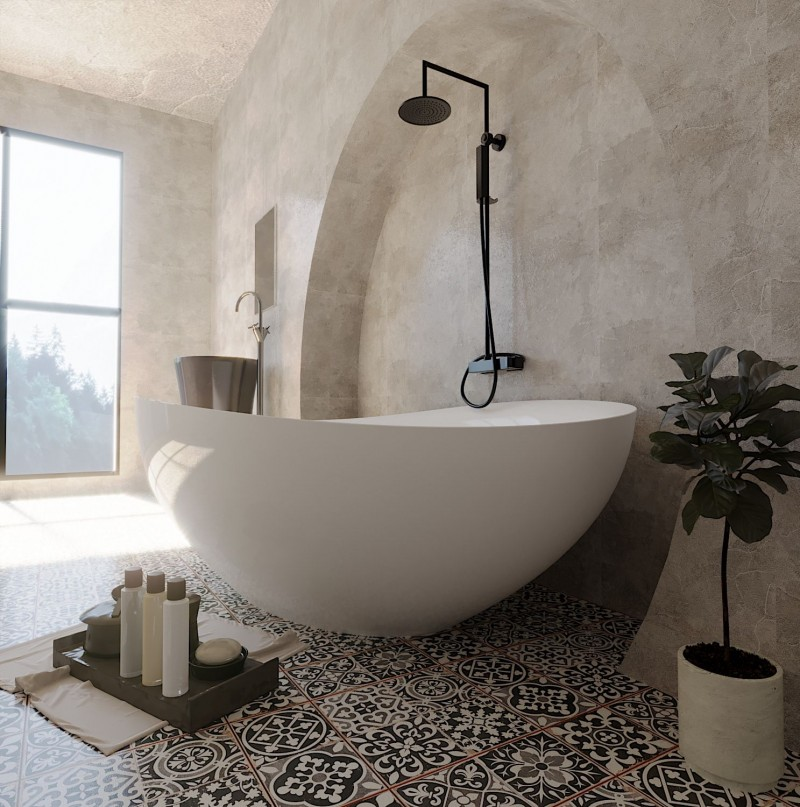 bright and airy master bathroom design modern white bathtub black showerhead vintage tile floors