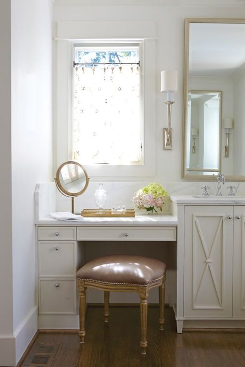 built in makeup table with drawers vanity chair with light pink cushion