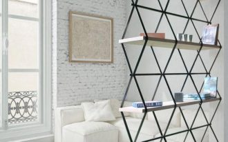 contemporary partition display rack with black metal frames and wood shelves base