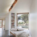 Cool Reading Nook Corner Wood Bench With Tufted Cushion And Pillows Recessed Bookshelves Wood Framed Bay Window