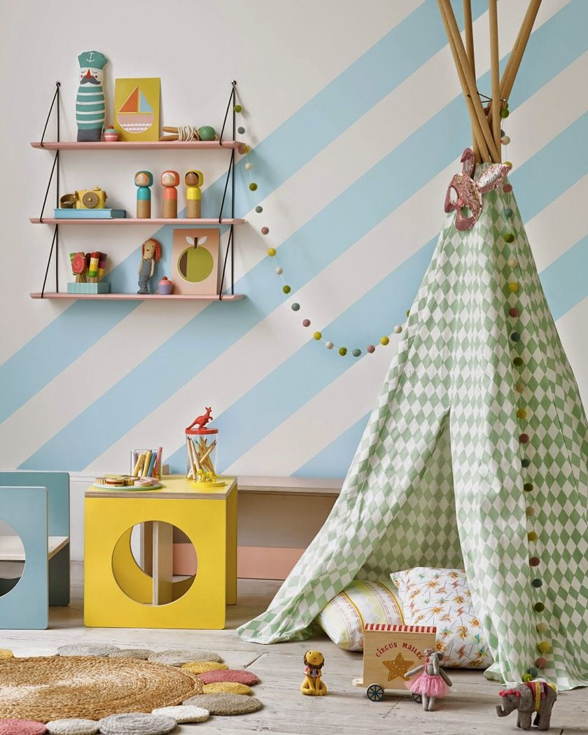 cool stripe wall color idea in blue and white ornate tent in green white diamond cut patterns