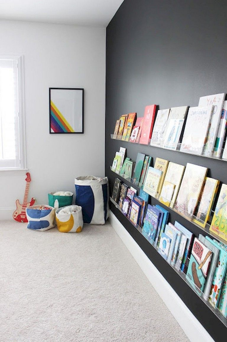 kids' reading nook in the basement