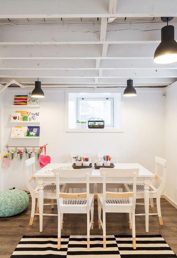 kids' study and playroom in the basement