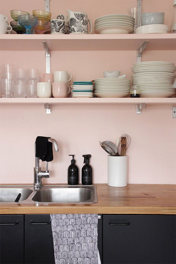 light pink kitchen idea with light pink walls and shelving units