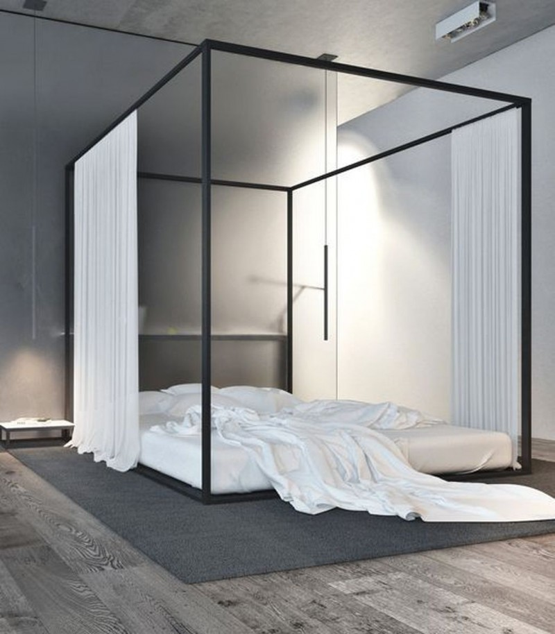 minimalist bedroom idea floor bed frame with canopy and draperies gray rug dark wood floors