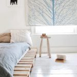 Platform Bed Frame White And Blue Pillows Light Blue Comforter Light Wood Stool As Side Table