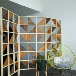 Removable Room Divider With Geometric Patterns