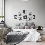 Soft Gray Walls Oversized Pendant Lamp White Bed Linen Gray Pillows Frameless Pictures On Wall Gray Throw Blanket