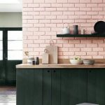 Soft Pink Subyway Tile Backsplash Matte Black Kitchen Counter