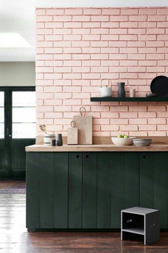 soft pink subyway tile backsplash matte black kitchen counter
