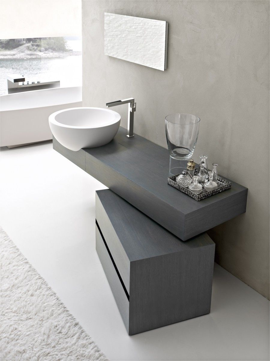 ultra modern bathroom vanity in gray with modern white sink and stainless steel faucet