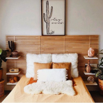 Warm And Neutral Toned Bedroom Idea Wood Bed Frame With Wider Stripe Headboard Shag Pillows In White Orange Bed Linen
