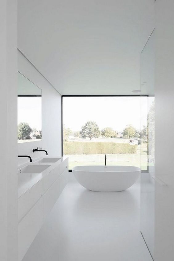 white minimalist bathroom with white bathtub black stand faucet white minimalist bathroom vanity with deep sinks and black faucets