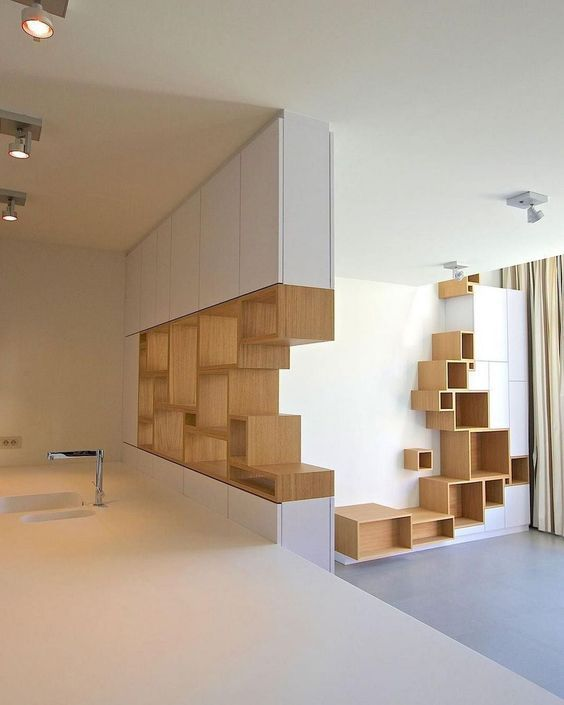 wood corner bookshelves