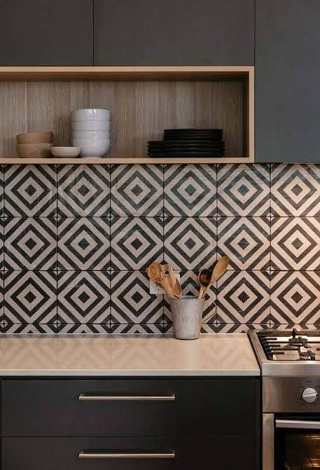black white backsplash in geometric patterns