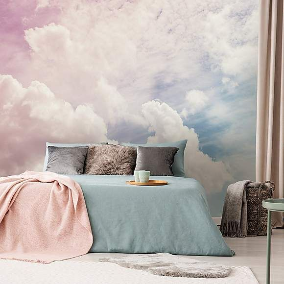 cloud wallpaper idea modern bedding set in blue