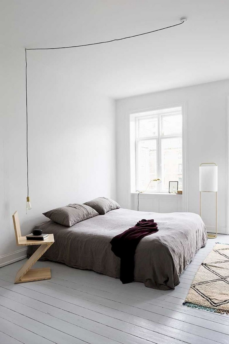 minimalist master bedroom design with gray bedding set creative and unique wooden bedside table simple hang pendant whitewashed wood plank floors