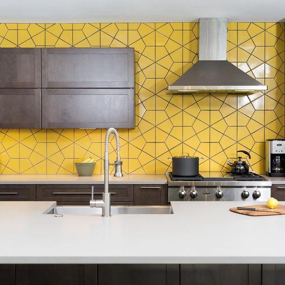 poppy yellow backsplah idea in geometric patterns