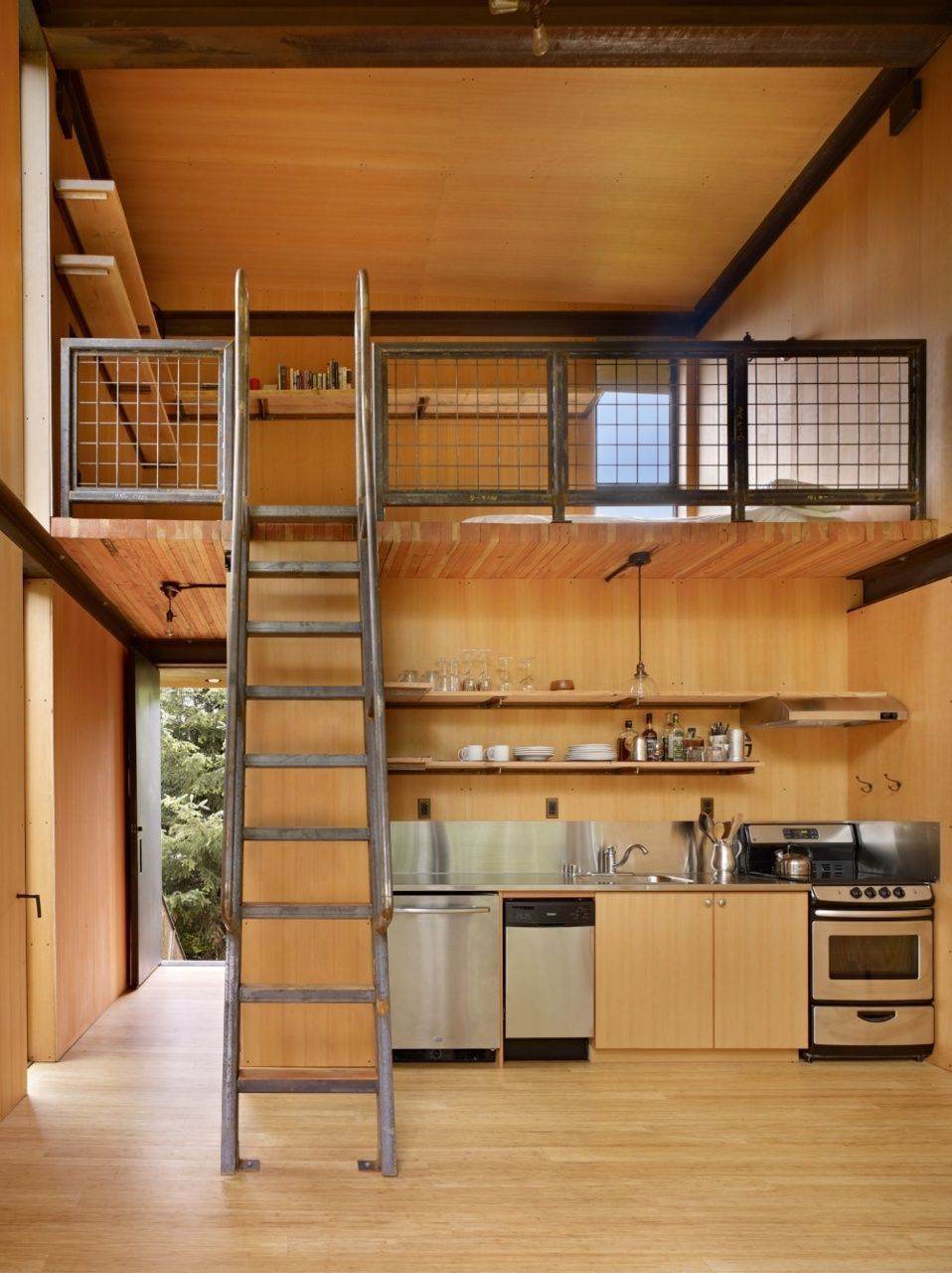small loft design in modern rustic  style wood finish kitchen idea with stainless steel hardware natural wood ladder