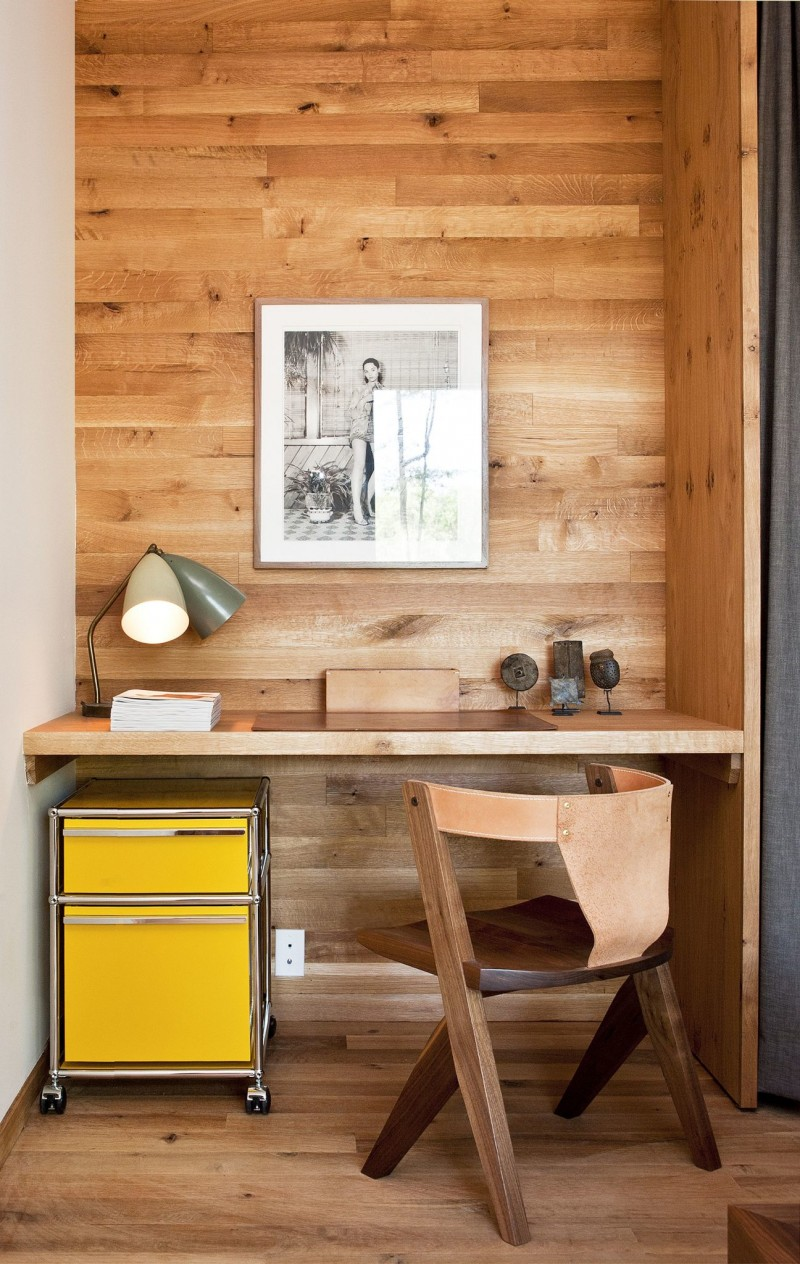 small workspace design in the hallway floating wood working table DIY wooden chair movable document storage in yellow modern table lamps