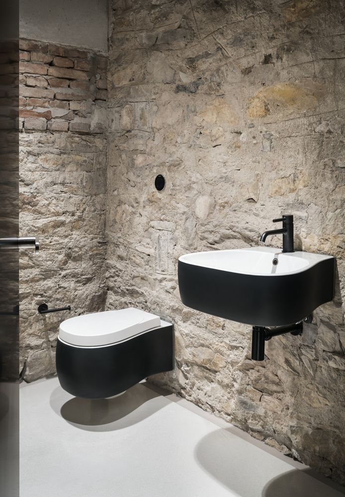 stoned walls in light shade modern black white bathroom hardware