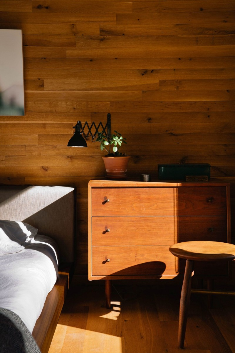 wooden nightstand wooden stool with round top wood walls