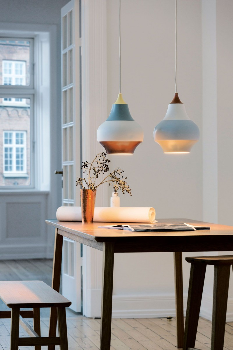 colorful teardrop pendants for dining space