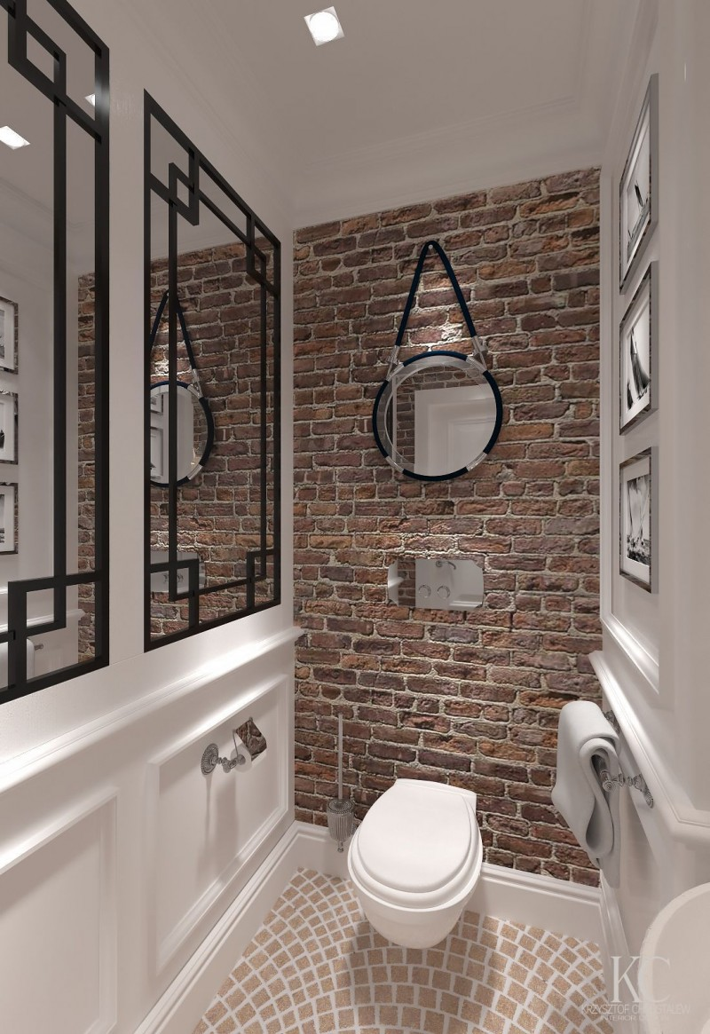 industrial rustic bathroom design with red brick walls tiled floors wall mounted toilet