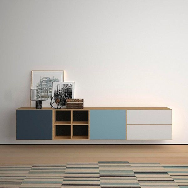 minimalist console table with pastel highlights