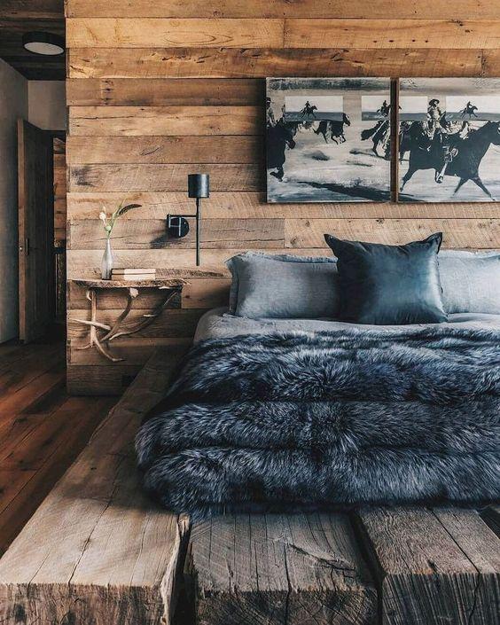 modern rustic bedroom with platform bed frame gray bedding set black shag duvet cover