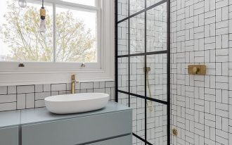 ultra modern bathroom with modern industrial style glass shower partition modern white floating bathroom vanity subway tile walls with black grouts marble floors